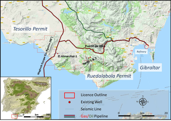 Tesorillo, Ruedalabola Permits and Existing Pipelines